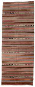 Kilim Semi Antique Turkish Rug 148X392 Authentic  Oriental Handwoven Hallway Runner  Dark Red/Dark Brown (Wool, Turkey)