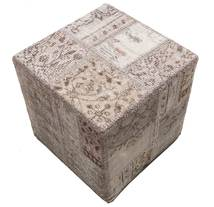 Patchwork Stool Ottoman Rug 50X50 Authentic Oriental Handknotted Square Light Grey/Brown (Wool, Turkey)