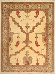 Tabriz 50 Raj Rug 228X295 Authentic  Oriental Handknotted Dark Beige/Light Brown (Wool/Silk, Persia/Iran)