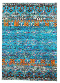 Quito - Turquoise Rug 140X200 Authentic  Modern Handknotted Turquoise Blue/Blue (Silk, India)