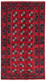 Baluch Rug 103X187 Authentic  Oriental Handknotted Dark Red/Crimson Red/Dark Brown (Wool, Afghanistan)