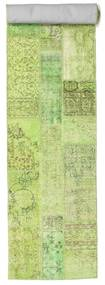 Patchwork Rug 81X504 Authentic  Modern Handknotted Hallway Runner  Light Green/White/Creme (Wool, Turkey)
