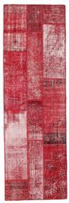 Patchwork Rug 81X252 Authentic  Modern Handknotted Hallway Runner  Crimson Red/Pink (Wool, Turkey)