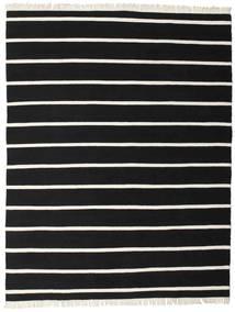 Dhurrie Stripe - Black/White Rug 200X250 Authentic  Modern Handwoven Black (Wool, India)