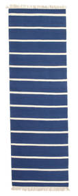 Dhurrie Stripe - Dark Blue Rug 80X250 Authentic  Modern Handwoven Hallway Runner  Blue/Beige (Wool, India)