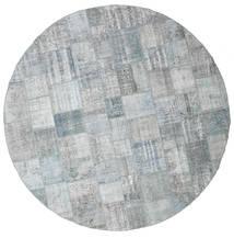 Patchwork Rug Ø 400 Authentic  Modern Handknotted Round Light Grey Large (Wool, Turkey)