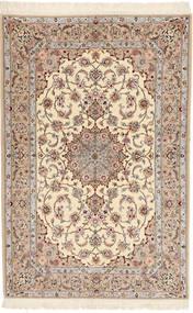 Isfahan Silk Warp Davudi Rug 130X202 Authentic  Oriental Handknotted Beige/Light Grey (Wool/Silk, Persia/Iran)
