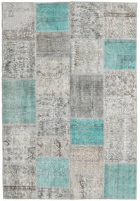 Patchwork Rug 160X232 Authentic  Modern Handknotted Light Grey/Turquoise Blue (Wool, Turkey)