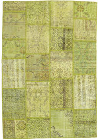 Patchwork Rug 160X234 Authentic  Modern Handknotted Light Green/Olive Green/Yellow (Wool, Turkey)