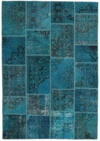 Patchwork Rug 159X230 Authentic  Modern Handknotted Dark Blue/Dark Turquoise   (Wool, Turkey)