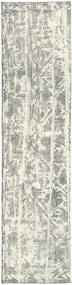Colored Vintage Rug 70X292 Authentic  Modern Handknotted Hallway Runner  Light Grey/White/Creme (Wool, Persia/Iran)