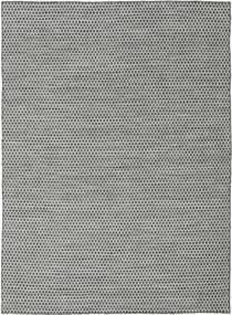 Kilim Honey Comb - Black/Grey Rug 210X290 Authentic  Modern Handwoven Light Grey/Turquoise Blue (Wool, India)
