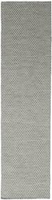 Kilim Honey Comb - Grey Rug 80X340 Authentic  Modern Handwoven Hallway Runner  Light Grey/Dark Grey (Wool, India)