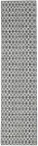 Kilim Long Stitch - Black/Grey Rug 80X340 Authentic  Modern Handwoven Hallway Runner  Light Grey/Turquoise Blue (Wool, India)