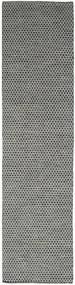 Kilim Honey Comb - Black/Grey Rug 80X340 Authentic  Modern Handwoven Hallway Runner  Dark Grey/Light Grey (Wool, India)