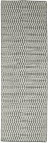 Kilim Long Stitch - Grey Rug 80X240 Authentic  Modern Handwoven Hallway Runner  Light Grey/Dark Grey (Wool, India)