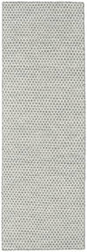 Kilim Honey Comb - Grey Rug 80X240 Authentic Modern Handwoven Hallway Runner Light Grey/Beige (Wool, India)