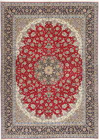 Isfahan Silk Warp Rug 300X417 Authentic Oriental Handknotted Light Grey/Dark Red Large (Wool/Silk, Persia/Iran)