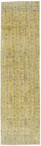 Colored Vintage Rug 85X313 Authentic  Modern Handknotted Hallway Runner  Light Green/Olive Green (Wool, Turkey)