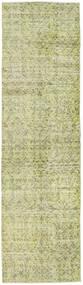 Colored Vintage Rug 81X291 Authentic  Modern Handknotted Hallway Runner  Light Green/Dark Beige (Wool, Turkey)