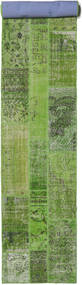 Patchwork Rug 81X511 Authentic  Modern Handknotted Hallway Runner  Dark Green/Light Green (Wool, Turkey)