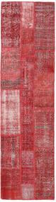 Patchwork Rug 80X303 Authentic  Modern Handknotted Hallway Runner  Rust Red/Dark Red (Wool, Turkey)