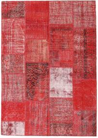 Patchwork Rug 162X230 Authentic  Modern Handknotted Rust Red/Dark Red/Crimson Red (Wool, Turkey)