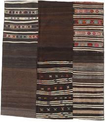 Kilim Patchwork Rug 179X207 Authentic  Modern Handwoven Dark Brown (Wool, Turkey)
