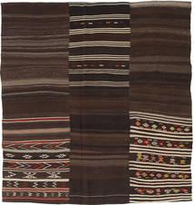 Kilim Patchwork Rug 216X228 Authentic  Modern Handwoven Square Dark Brown (Wool, Turkey)