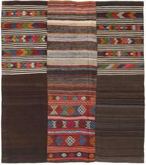 Kilim Patchwork Rug 214X242 Authentic  Modern Handwoven Dark Brown/Dark Red (Wool, Turkey)