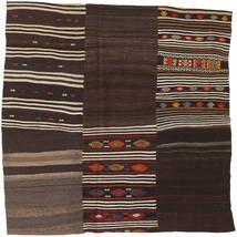 Kilim Patchwork Rug 199X199 Authentic  Modern Handwoven Square Dark Brown (Wool, Turkey)
