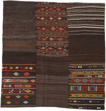 Kilim Patchwork Rug 208X212 Authentic  Modern Handwoven Square Dark Brown (Wool, Turkey)
