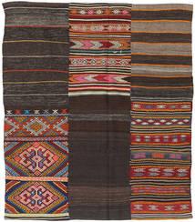 Kilim Patchwork Rug 198X234 Authentic  Modern Handwoven Dark Brown (Wool, Turkey)