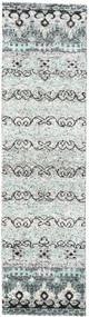 Quito - Grey Rug 80X300 Authentic  Modern Handknotted Hallway Runner  Beige/Light Grey (Silk, India)