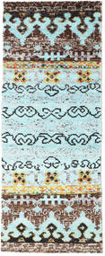 Quito - L. Blue Rug 80X200 Authentic  Modern Handknotted Hallway Runner  Turquoise Blue/Light Grey (Silk, India)