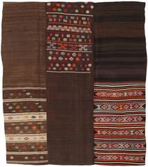 Kilim Patchwork Rug 217X250 Authentic  Modern Handwoven Dark Brown/Dark Red (Wool, Turkey)