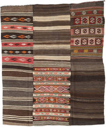 Kilim Patchwork Rug 210X248 Authentic Modern Handwoven Dark Brown/Dark Grey (Wool, Turkey)