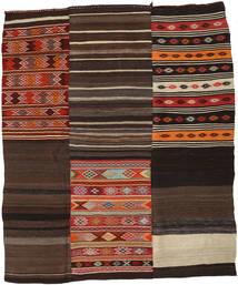 Kilim Patchwork Rug 219X262 Authentic  Modern Handwoven Dark Brown (Wool, Turkey)
