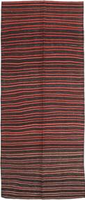 Kilim Fars Rug 143X360 Authentic  Oriental Handwoven Hallway Runner  Dark Brown/Dark Red (Wool, Persia/Iran)