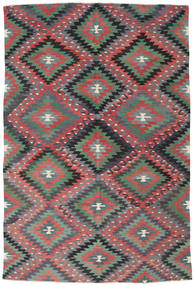 Kilim Turkish Rug 184X273 Authentic  Oriental Handwoven Dark Grey/Rust Red (Wool, Turkey)