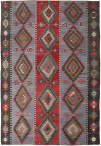 Kilim Turkish Rug 187X253 Authentic  Oriental Handwoven Dark Grey/Crimson Red (Wool, Turkey)
