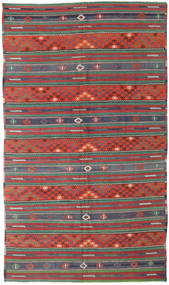 Kilim Turkish Rug 170X296 Authentic  Oriental Handwoven Dark Red/Dark Green (Wool, Turkey)