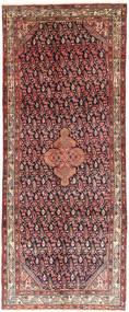 Hamadan Rug 125X314 Authentic  Oriental Handknotted Hallway Runner  Dark Red/Dark Brown (Wool, Persia/Iran)