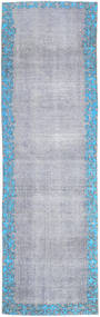Colored Vintage Rug 80X262 Authentic  Modern Handknotted Hallway Runner  Light Grey/Light Blue (Wool, Persia/Iran)