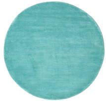 Handloom - Aqua Rug Ø 150 Modern Round Dark Turquoise  /Turquoise Blue (Wool, India)