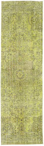 Colored Vintage Rug 86X296 Authentic  Modern Handknotted Hallway Runner  Light Green/Olive Green (Wool, Turkey)