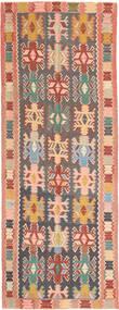 Kilim Rug 147X397 Authentic  Oriental Handwoven Hallway Runner  Dark Grey/Light Pink (Wool, Persia/Iran)