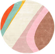 Dynamic Handtufted - Pink Rug Ø 200 Modern Round Beige/Light Pink/Dark Red (Wool, India)