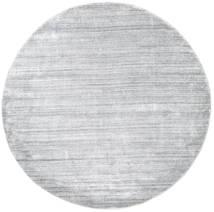 Bamboo Silk Loom - Grey Rug Ø 200 Modern Round Light Grey/White/Creme ( India)