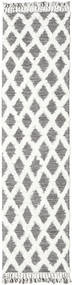 Inez - Dark Brown/White Rug 80X300 Authentic  Modern Handwoven Hallway Runner  Light Grey/White/Creme (Wool, India)